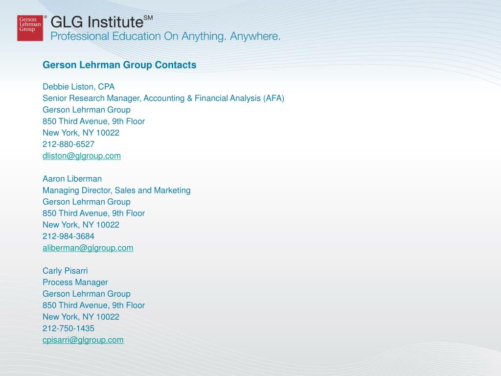 Gerson Lehrman Group Contacts