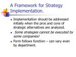 a framework for strategy implementation