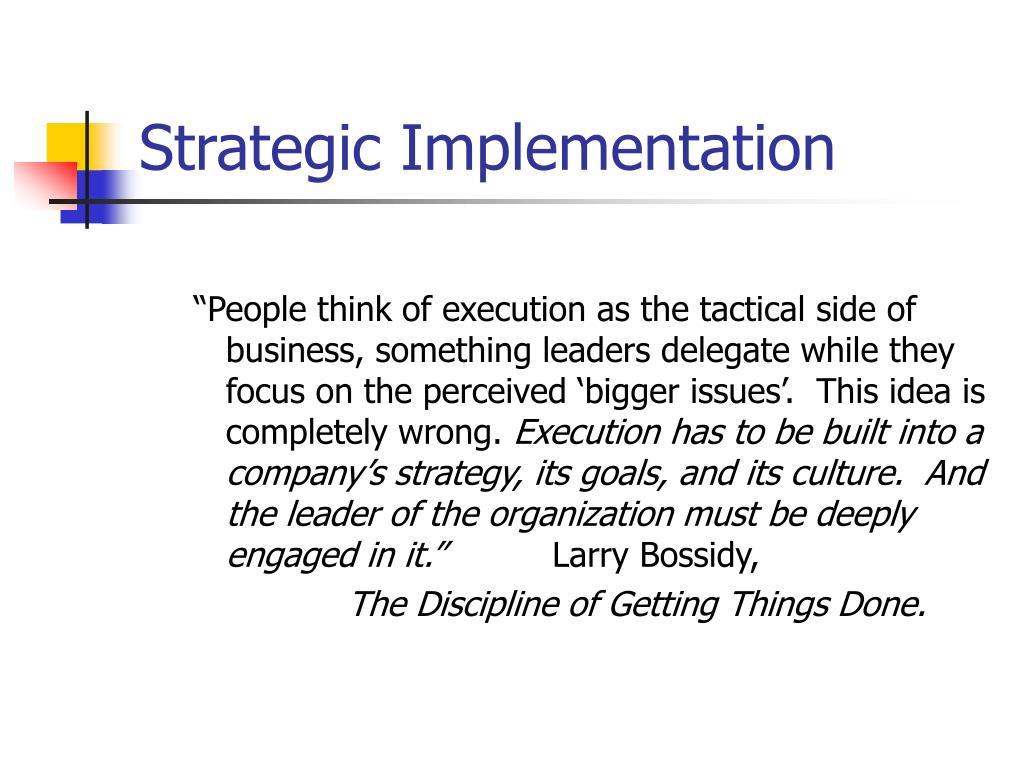 PPT - Strategic Implementation PowerPoint Presentation - ID:230822