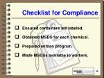 checklist for compliance49