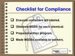 checklist for compliance49