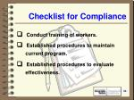checklist for compliance50