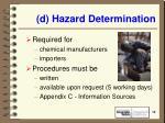 d hazard determination