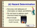 d hazard determination13