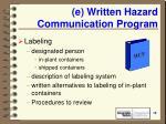 e written hazard communication program19
