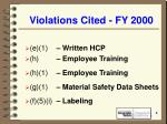 violations cited fy 2000