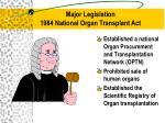 major legislation 1984 national organ transplant act