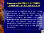 programa materno infantil captacion del recien nacido