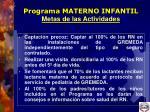 programa materno infantil metas de las actividades