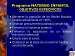 programa materno infantil objetivos especificos