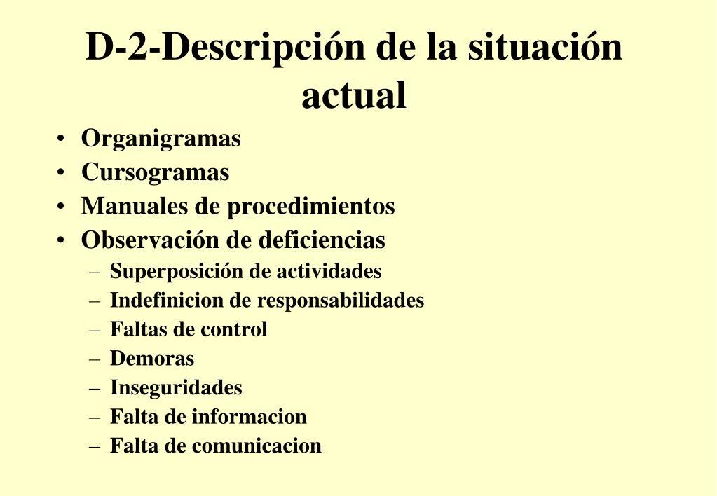 D-2-Descripción de la situación actual
