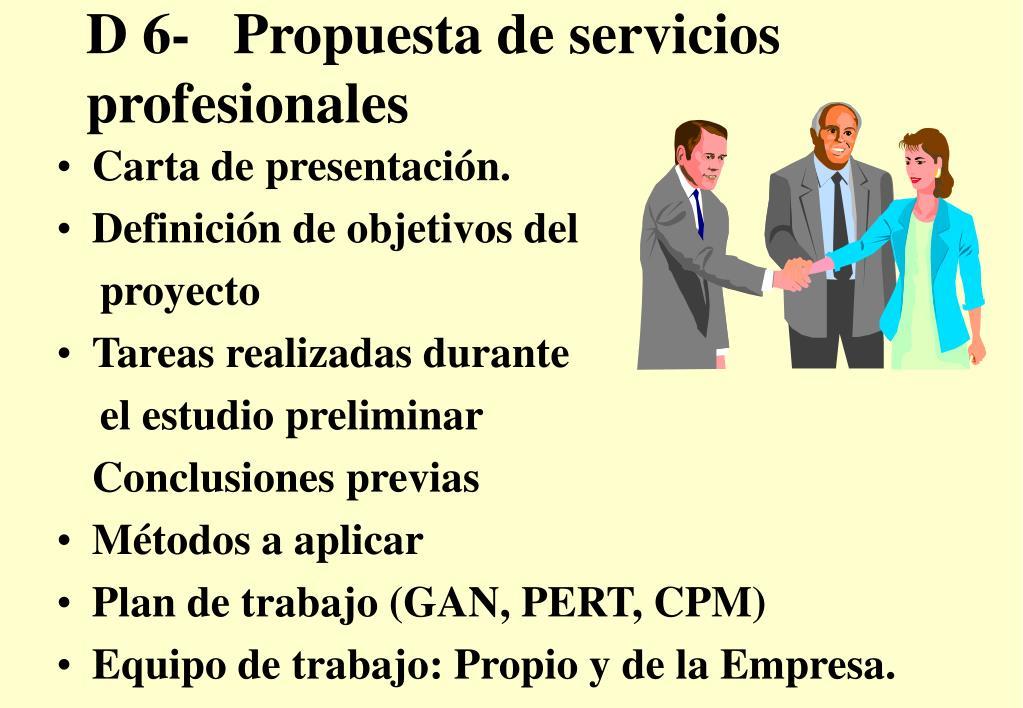 D 6-   Propuesta de servicios profesionales