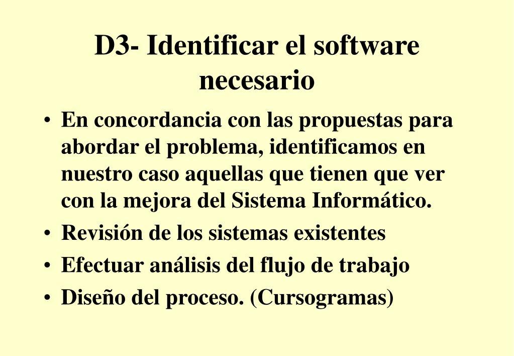 D3- Identificar el software necesario