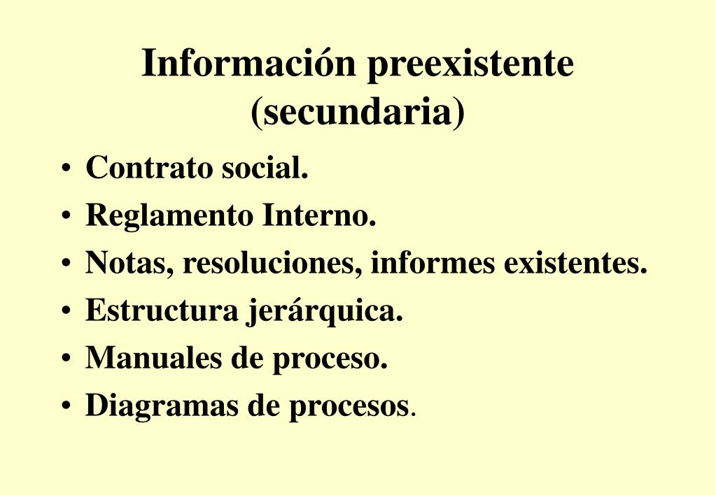Información preexistente