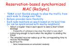 reservation based synchornized mac resync
