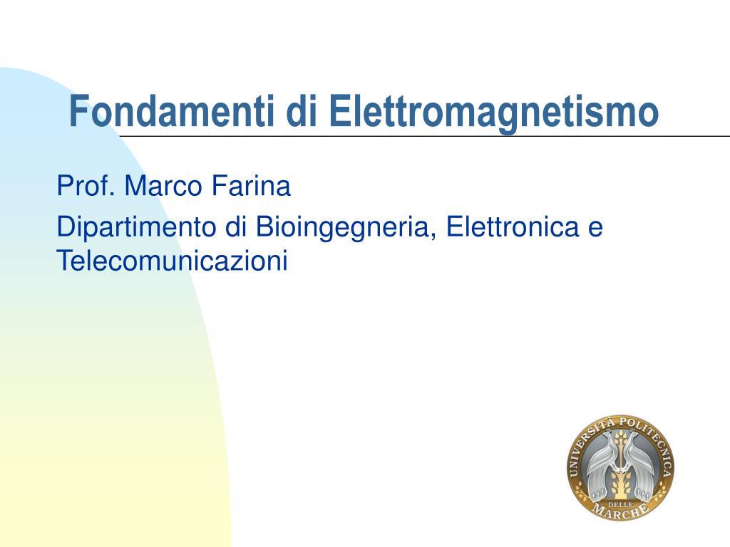 fondamenti di elettromagnetismo l.