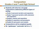 composition grades 4 and 7 and high school