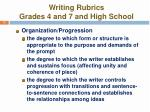 writing rubrics grades 4 and 7 and high school