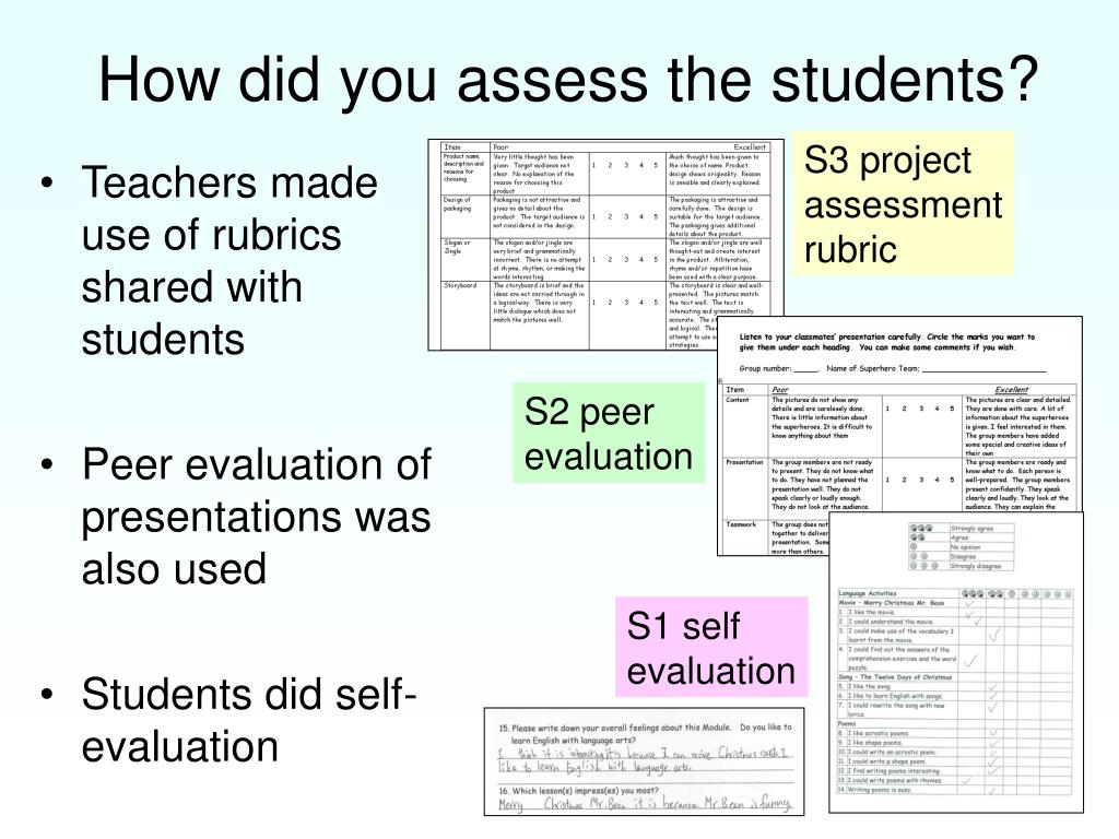Teachers made use of rubrics shared with students