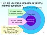 how did you make connections with the informal curriculum