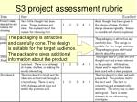 s3 project assessment rubric