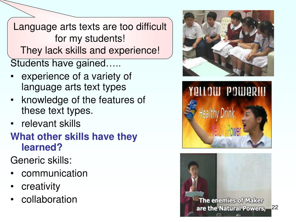 Have students developed language arts knowledge, skills and experience?