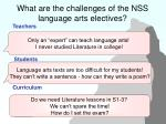 what are the challenges of the nss language arts electives