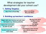 what strategies for teacher development did your school use