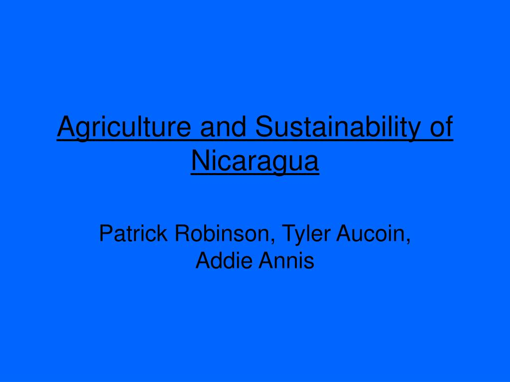 agriculture and sustainability of nicaragua l.