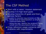 the csf method