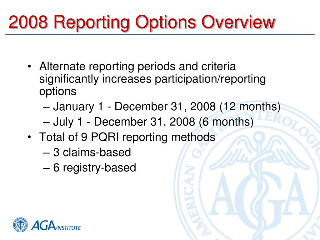 2008 Reporting Options Overview