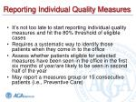 reporting individual quality measures35
