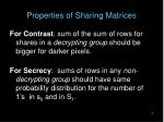 properties of sharing matrices