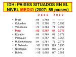 idh paises situados en el nivel medio 2007 85 pa ses