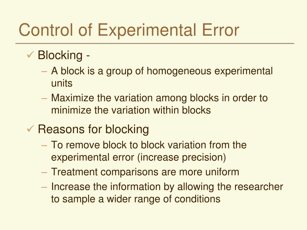 control of experimental error l.