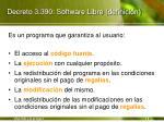 decreto 3 390 software libre definici n
