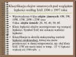 klasyfikacja olej w smarowych pod wzgl dem lepko ci wed ug sae j300 z 1997 roku