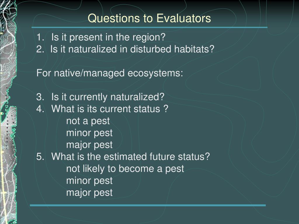 Questions to Evaluators