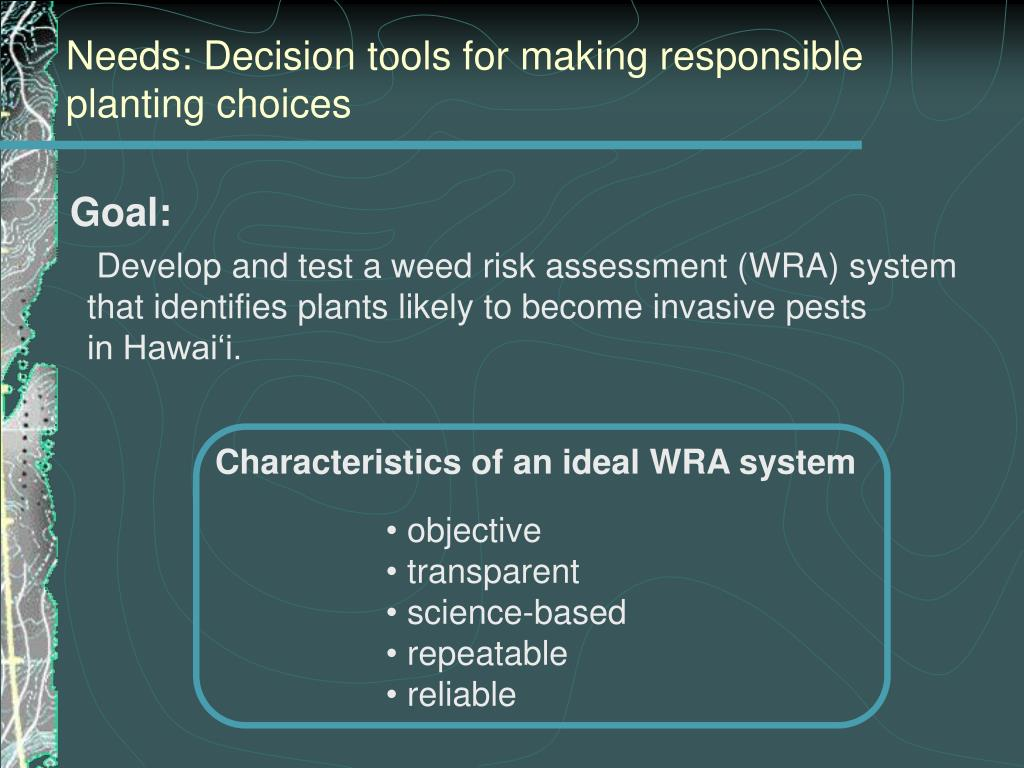 Needs: Decision tools for making responsible planting choices