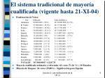 el sistema tradicional de mayor a cualificada vigente hasta 21 xi 04