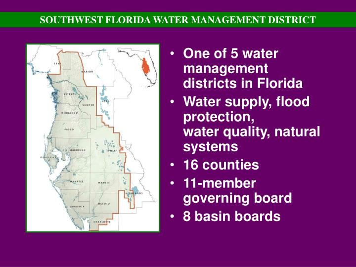 One of 5 water management districts in Florida