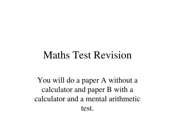maths test revision n.