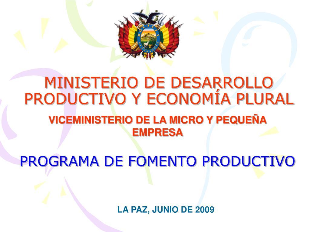 ministerio de desarrollo productivo y econom a plural l.