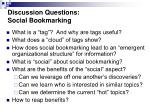 discussion questions social bookmarking