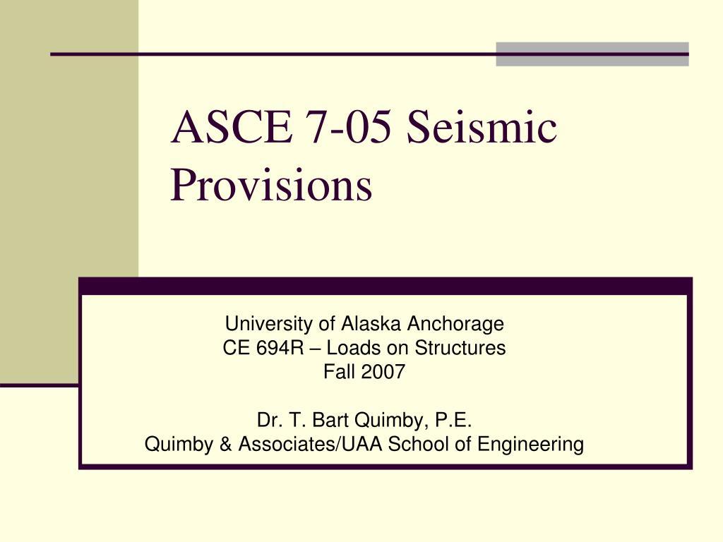 asce 7 05 seismic provisions l.