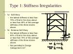 type 1 stiffness irregularities