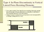 type 4 in plane discontinuity in vertical lateral force resisting elements