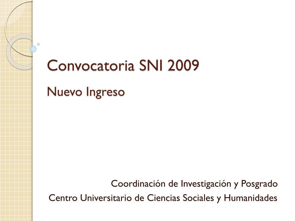 convocatoria sni 2009 nuevo ingreso l.