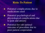 risks to patient