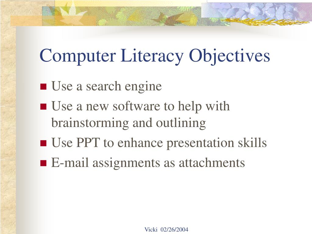 Computer Literacy Objectives